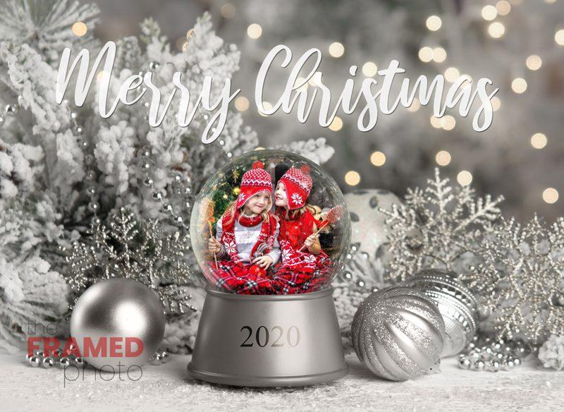 Add your photo custom silver snow globe Christmas scene